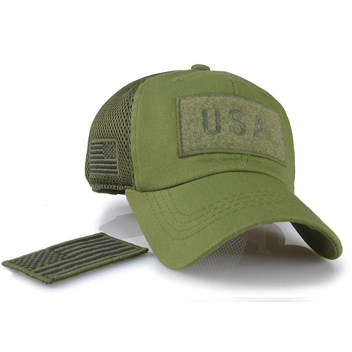 Custom camouflage mesh cap special tactical operator USA flag patch side embroid 6