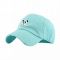 Panda embroidery distressed baseball cap 6 panel vintage baseball cap for sale