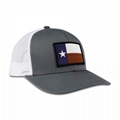 Factory Price Custom Embroidered Baseball Cap Texas State Flag Patch Gray White  6
