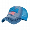 Distressed caps cyclist hats 3D embroidery hole USA patch denim baseball c