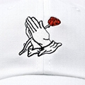 Wholesale Custom Embroidery Prayer Hands Hat Baseball Cap Rose Dad Hats White  4