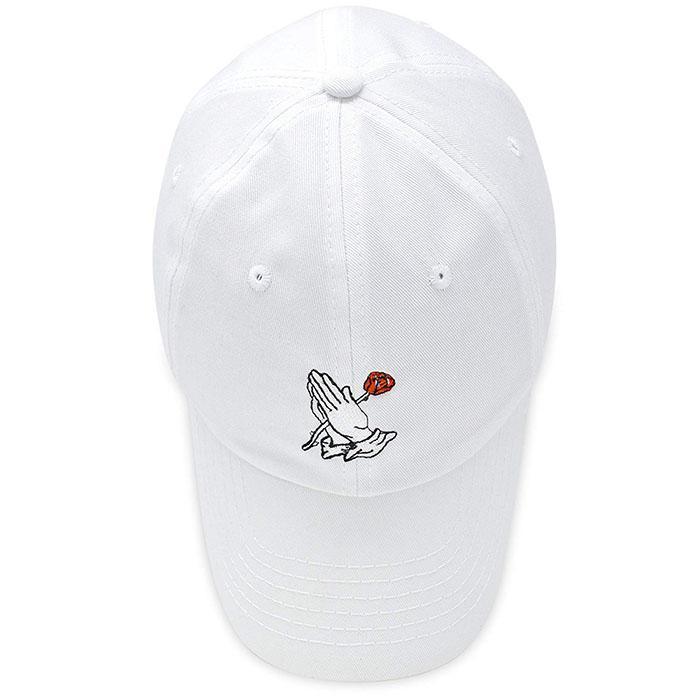 Wholesale Custom Embroidery Prayer Hands Hat Baseball Cap Rose Dad Hats White  5