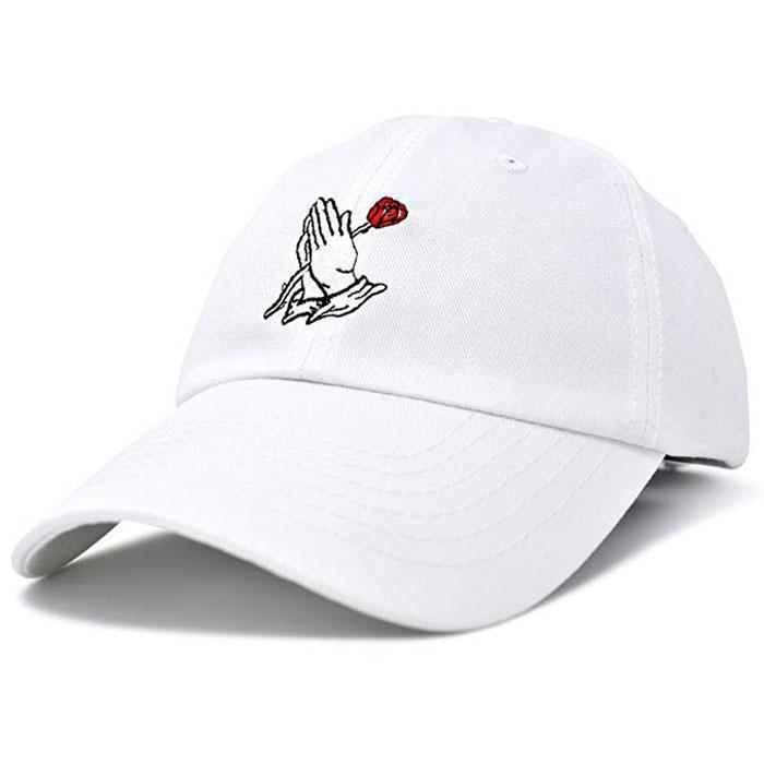 Wholesale Custom Embroidery Prayer Hands Hat Baseball Cap Rose Dad Hats White  1