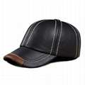 Wholesale leather caps cowhide baseball cap hat with adjustable strap hats