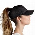 Custom patch ponytail baseball cap plaid