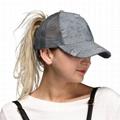 Wholesale washed denim distressed dad hat ponytail baseball cap