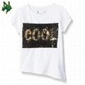 Custom Gold Reversible Shiny Sequin T Shirt Black Wow Change 2 Way Sequin Letter