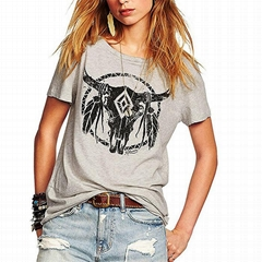 Summer Women T-Shirt Lady Loose Scoop Neck Tops Graphic Printed Cute Juniors Tee
