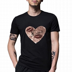 Custom Cotton Reversible Sequin Tshirt love in heart Patch Bodycon T-shirt