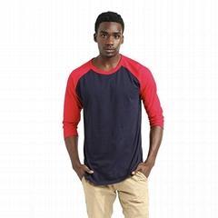Wholesale Mens Cotton Raglan Tshirt Three Quarters Of Sleeve Slim Fit Tshirt