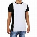 New arrival long tail side zipper t shirt two tone hip hop drop tail t-shirts
