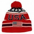 New Arrival USA American Flag Custom Embroidered Pom Pom Cuff Beanie Hat