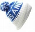 Custom Jacquard Beanie Your Own Embroidery Logo Acrylic Pom Pom Beanie Hat  2