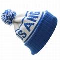 Custom Jacquard Beanie Your Own Embroidery Logo Acrylic Pom Pom Beanie Hat  5