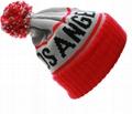 Custom Jacquard Beanie Your Own Embroidery Logo Acrylic Pom Pom Beanie Hat  6