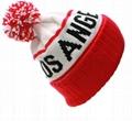 Custom Jacquard Beanie Your Own Embroidery Logo Acrylic Pom Pom Beanie Hat  1