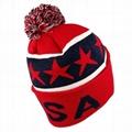 Custom Embroidery American Flag Logo PomPom Beanie Hat Slouch Beanie Hat