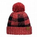 OEM Soft Stretch Pom Fuzzy Lined Buffalo Plaid Cuff Beanie Hat Checked Pattern