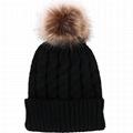 Faux Fur Pom Pom Beanie Hat Acrylic