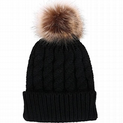 Faux Fur Pom Pom Beanie Hat Acrylic Slouch Beanie Hat With Fleece Lined