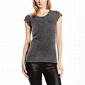 Custom scoop bottom girls women shirt plain shoulder curved hem t-shirts