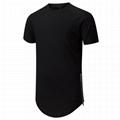Wholesale extended t shirt side zipper tee shirt blank hip hop