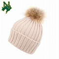 Knitted Fur Hat Real Large Raccoon Fur Pom Pom Gorros De Lana