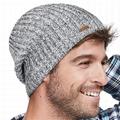Wholesale Beanie Leather Patch Winter Skull Cap Warm Knit Fleece Slouchy Hat