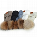 Cable knit cuff beanie hat women fur pom