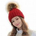 Cable knit cuff beanie hat women fur pom pom twist grain knitting beanie hats