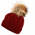 Custom hand knitted woolen caps straight needle knit hat patterns pom beanie hat 2
