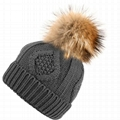 Custom hand knitted woolen caps straight needle knit hat patterns pom beanie hat 4