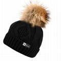Custom hand knitted woolen caps straight needle knit hat patterns pom beanie hat