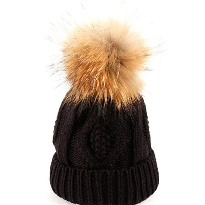 Custom hand knitted woolen caps straight needle knit hat patterns pom beanie hat 5