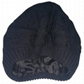 Custom satin lined beanie plain winter hats knit crochet pattern beret cap
