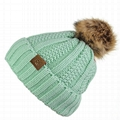 Wholesale funny running baby wool hat fur pompom hats beanie hats with top ball 2