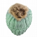 Wholesale funny running baby wool hat fur pompom hats beanie hats with top ball