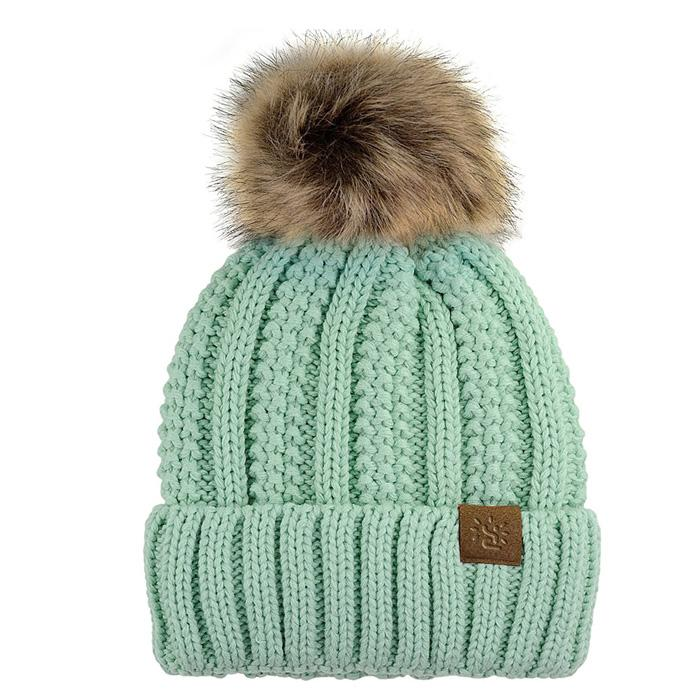 Wholesale funny running baby wool hat fur pompom hats beanie hats with top ball 1