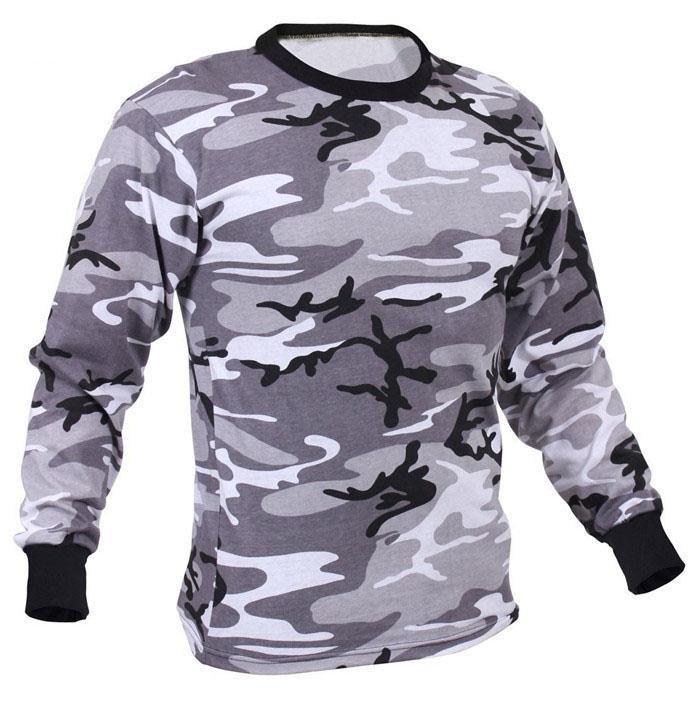 Wholesale Camo long sleeve t shirts camo classic crew neck camouflage tee tops  6