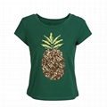 Womens Sequin Embroidery Pineapple Print