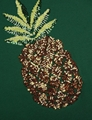Womens Sequin Embroidery Pineapple Print Short Sleeve Reversible Sequin T-shirt