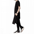 Trendy long tail t shirt blank hip hop tshirt back zipper swag t shirt hipster