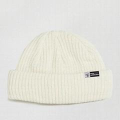 Good Quality Custom Knitted Beanie Mini Fisherman Ribbed Beanie Hats In Ecru