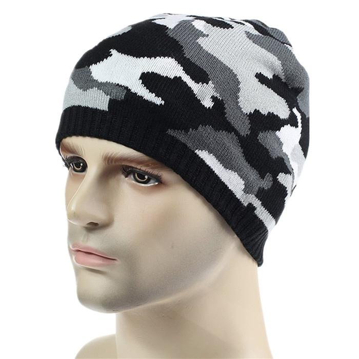 Wholesale green camo knit beanie cap mens beanie winter ski hat knitted hats 2