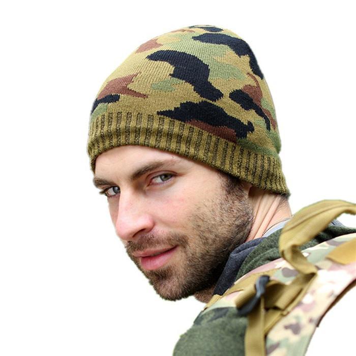 Wholesale green camo knit beanie cap mens beanie winter ski hat knitted hats 3
