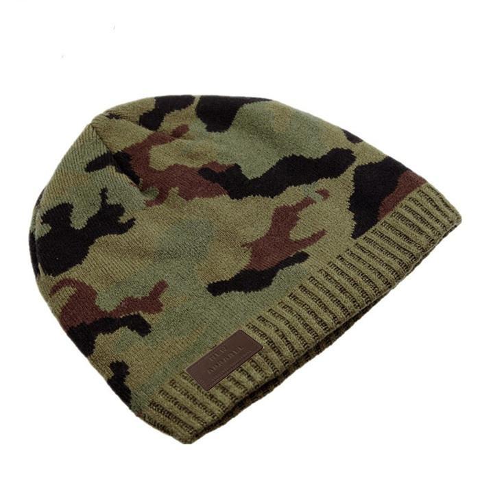 Wholesale green camo knit beanie cap mens beanie winter ski hat knitted hats 1
