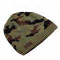 Wholesale green camo knit beanie cap