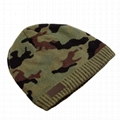 Wholesale green camo knit beanie cap mens beanie winter ski hat knitted hats