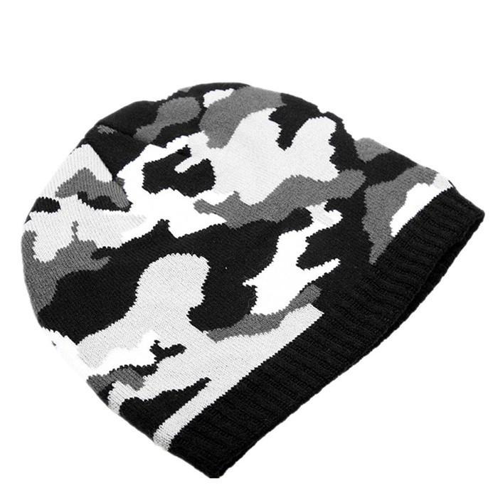 Wholesale green camo knit beanie cap mens beanie winter ski hat knitted hats 5