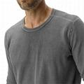 Longline Mens Curved Hem T shirts Vintage Plain Gray Acid Wash Cotton T-shirts